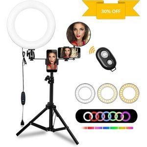 "10"" Selfie Ring Light LED Lamp Mini Camera Ring Lighting Kit with RGB& 3 Light Modes,Tripod Stand, Two Phone Holders,Brightness for Multi-Platforms Li for Sale in Moseley, VA"