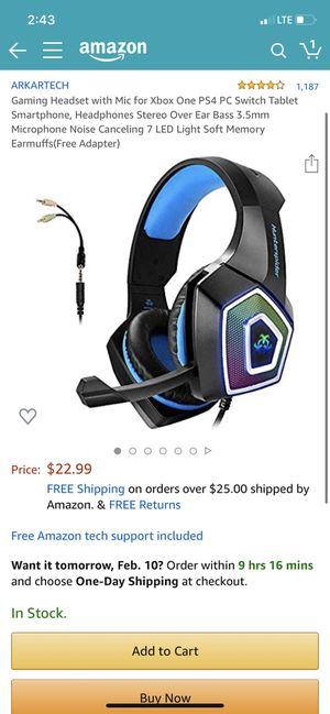 Gaming Headset with Mic for Xbox One PS4 PC Switch Tablet Smartphone, Headphones Stereo Over Ear Bass 3.5mm Microphone Noise Canceling 7 LED Light So for Sale in Rosemead, CA