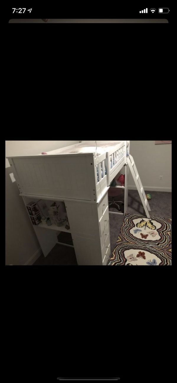 Kids Bed Loft with drawers & desk with tempurpedic mattress included (Like New)