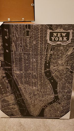 New York nyc manhattan street map canvas wall hanging for Sale in Wellington, FL