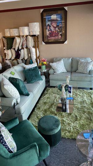 Two Piece Sofa and Love Seat Greenish Color with Pillows 2BL5 for Sale in Euless, TX