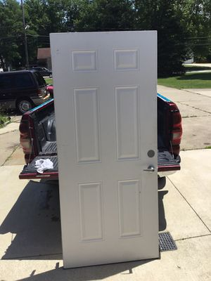 Metal door with hinges, scratches, minor dents and dings, 6 panel for Sale in Strongsville, OH