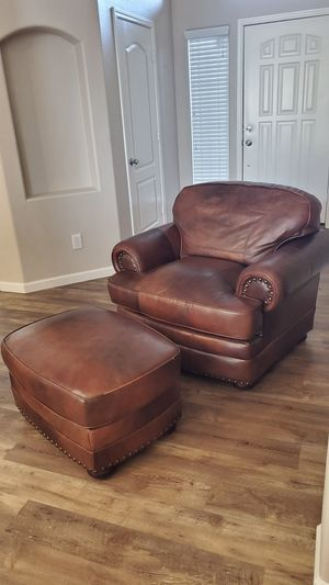 Real Leather Chair & Ottoman for Sale in Chandler, AZ