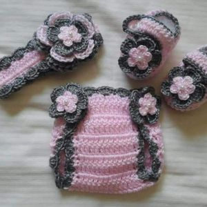 Crochet Baby Girl Headband Diaper Cover Outfit Photo Prop for Sale in Plant City, FL