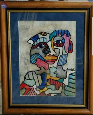French Art Abstract Figurative Painting J.dubuffet Signed Pop Art Framed Wood Picasso Matisse Andy Warhol era for Sale in Miami, FL