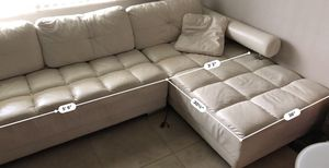 White Japanese Leather Couch 🛋 for Sale in Boca Raton, FL