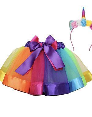 28 Rainbow Tutu Layered Costume Skirt Girls(with Rainbow Headband for Sale in Elkridge, MD