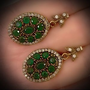 EMERALD FINE ART DANGLE POST EARRINGS Solid 925 Sterling Silver/Gold WOW! Brilliantly Faceted Oval/Round Cut Gems, Diamond Topaz M5034 V for Sale in San Diego, CA