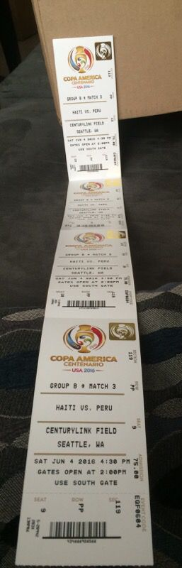 Copa tickets for Haiti/Peru in lower level! 4 awesome seats! Meet near stadium now! for Sale in Seattle, WA