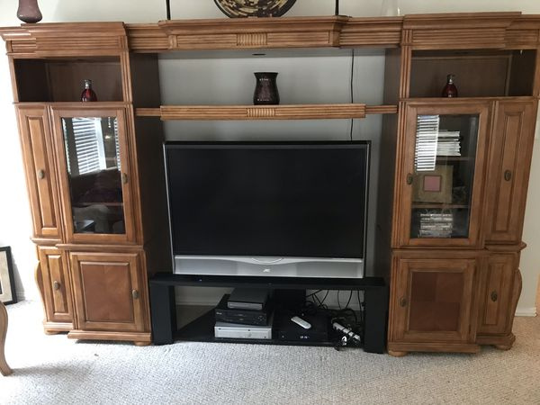 Entertainment Center - solid wood. Must pick-up by Aug 20