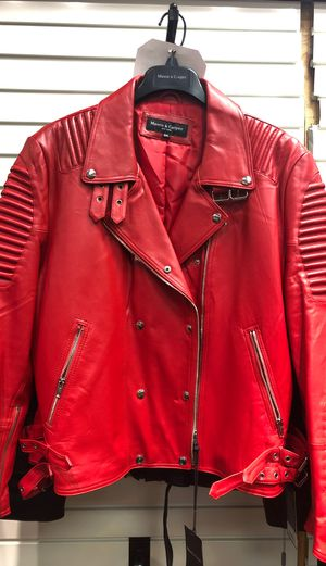 Uni sex red motorcycle leather jacket for Sale in Huntingdon Valley, PA