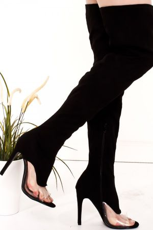 BLACK CLEAR TRANSPARENT PERSPEX SUEDE STRETCH THIGH HIGH BOOT for Sale in Miami Gardens, FL