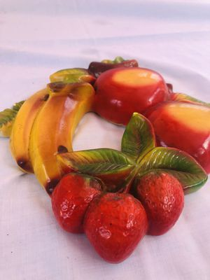 Antique chalk ware excellent condition banana, apples and strawberry 9 x 10 inches for Sale in South Bend, IN