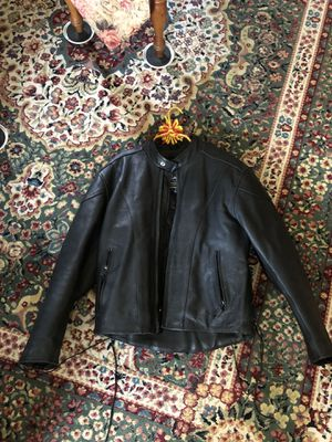 River Road Leather Jacket Mens 42 Black Motorcycle Coat Lined Full Zip Insulated for Sale in Waltham, MA