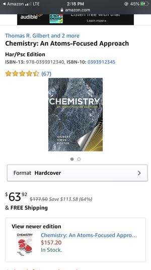 Chemistry an atoms-focused approach. GILBERT, KIRSS, FOSTER. Used, perfect condition 10/10. for Sale in Fort Collins, CO