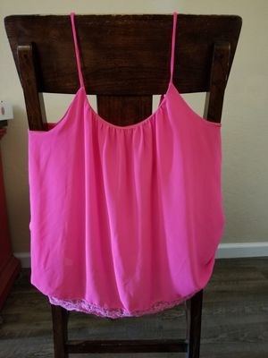 Woman Womens hot pink tank style sheer shirt size Medium good condition pet free smoke free home for Sale in Chandler, AZ