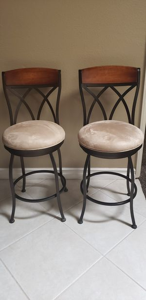 3 beautiful rod iron heavy duty swivel bar stools. $ 175.00 firm for all three please look at all pictures. for Sale in Palmdale, CA