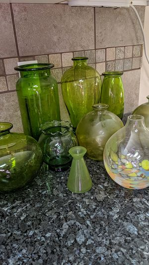 Green glass vase collection for Sale in Brier, WA