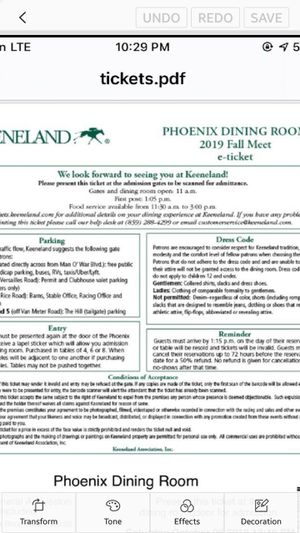 Keeneland tix Oct 5th Phoenix Dining Rm for Sale in Lexington, KY