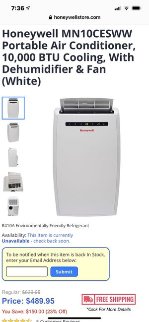 Honeywell MN10CESWW Portable Air Conditioner, 10,000 BTU Cooling, With Dehumidifier & Fan (White) for Sale in Columbus, OH