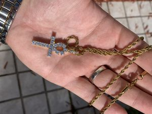 14k gold rope chain and diamond cross for Sale in Tampa, FL