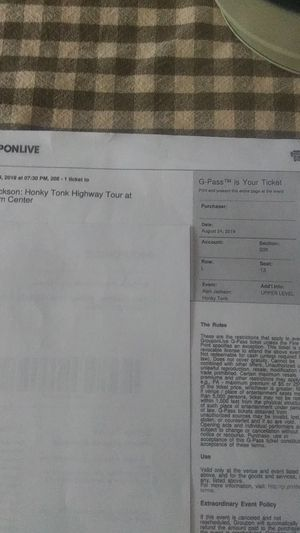 4 tickets for Alan Jackson Aug 24th Charlotte NC for Sale in Harrisonburg, VA