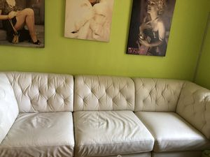 White leather couch for Sale in Elmwood Park, NJ