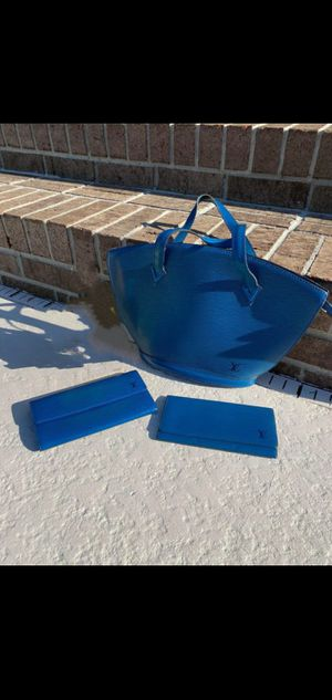 Authentic Louis Vuitton Blue Epi St Jacque tote bag and checkbook wallet for Sale in San Clemente, CA