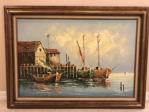 Beautiful Art Wall Painting Gold Yellow Frame for Sale in Tampa, FL
