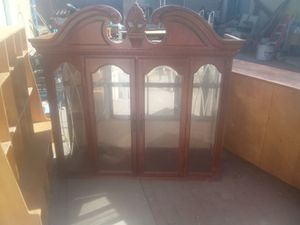2 piece wooden and glass china set for Sale in Palmdale, CA