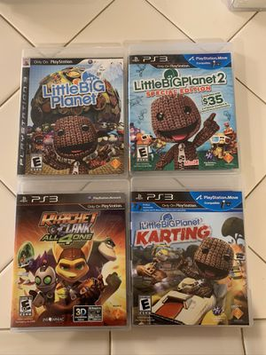 Ps3 Games; Little Big Planet 1, 2, And Karting, Ratchet Clank All 4 1 for Sale in Oregon City, OR