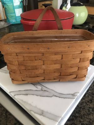 Longaberger hand Woven Basket Leather Handle 1993 for Sale in Everett, WA