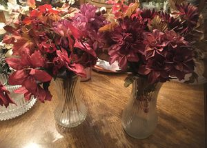 Matching Crystal Vases with Cranberry Fall Flowers for Sale in Ellenwood, GA