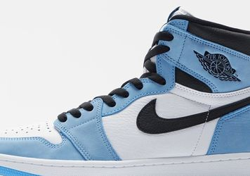 2021 Nike Air Jordan 1 Retro High White University Carolina Blue Grey Black University Royal 1 3 4 5 11 8 13 12 White Grey trophy Silver Toe for Sale in Snellville,  GA