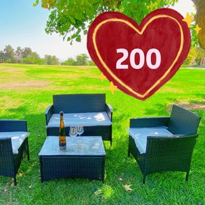 Brand new! Assembled! Firm on price! rattan wicker patio furniture set 2 single chair and 1 love seat and 1 coffee table(dark brown ) for Sale in La Puente, CA