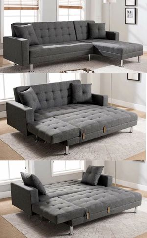Adjustable sectional sofa bed (queen size) reversible for Sale in Long Beach, CA