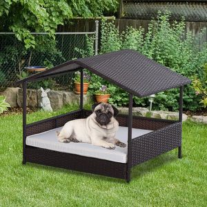 4 Sturdy Legs Elevated & Cushioned PE Rattan Dog / Cat House with Comfortable Protective Anti-slip Sleeping Pad & Weather-Fighting Material for Sale in Los Angeles, CA