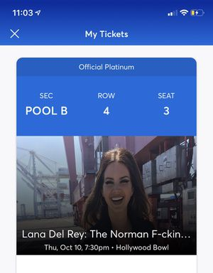 Lana Del Rey ticket POOL B for Sale in Pico Rivera, CA