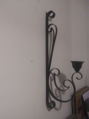 Large Iron Wall Scroll Candle holder / plant hanger for Sale in Miami, FL