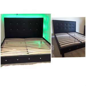 New queen bed frame with led light dresser and one nightstand mattress is not included for Sale in Orlando, FL