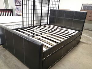 Full Size Platform Bed (Fully Slated) with Twin Trundle, Black for Sale in Santa Ana, CA