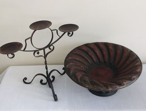 Rustic Candle Holder With Decorative Dish for Sale in Boynton Beach, FL