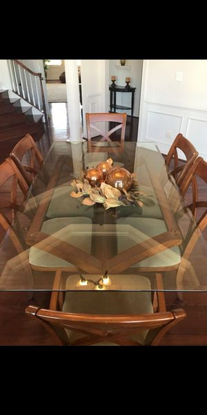 Dining table set!! Solid wood-Oak/glass for Sale in South Kensington, MD