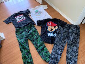 Mens size medium clothes bundle, mmj clothing marijuana print joggers size M for Sale in Chatsworth, CA