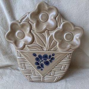 Vtg Pfaltzgraff Stoneware Fork Art 3 Flowers Basket Weave Shaped Trivet Spoon Rest Brown and Blue for Sale in Alpharetta, GA