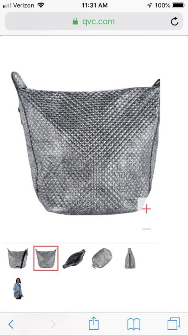 NWT Vera Bradley Carson Hobo Bag in Silver