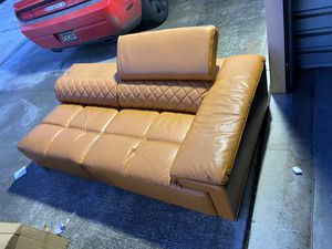 Orange leather sofa, half of a sectional (new-unboxed) for Sale in Lathrop, CA