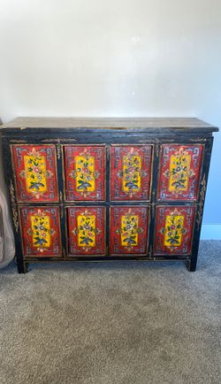 Antique Tibetan Cabinet Hand Made, Hand Painted for Sale in Eagle Mountain,  UT