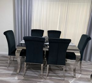 black and chrome dining table set 7 piece for Sale in Los Angeles, CA