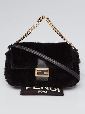 Fendi black nano Shearling Baguette Bag 8M0354 for Sale in Columbus, OH